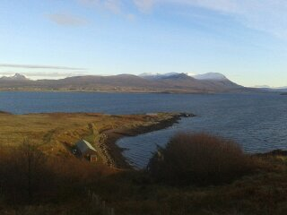 The Cafe, bay and Coigach hills from the old school on Tanera