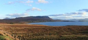 How the wind turbine will look from east Polbain, dwarfed by Conival and Ben Mhor Coigach.